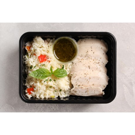 Куриная грудка . Рис с овощами. Соус Чимичурри