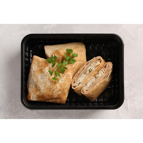 Цельнозерновые конвертики с куриным филе и вешенками